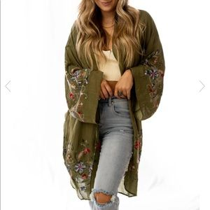 Olive kimono with embroidered floral accents
